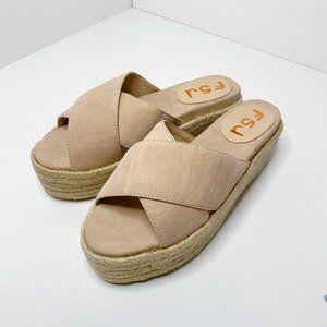FSJ Open Toe Platform Espadrille Mid Heel Sandals